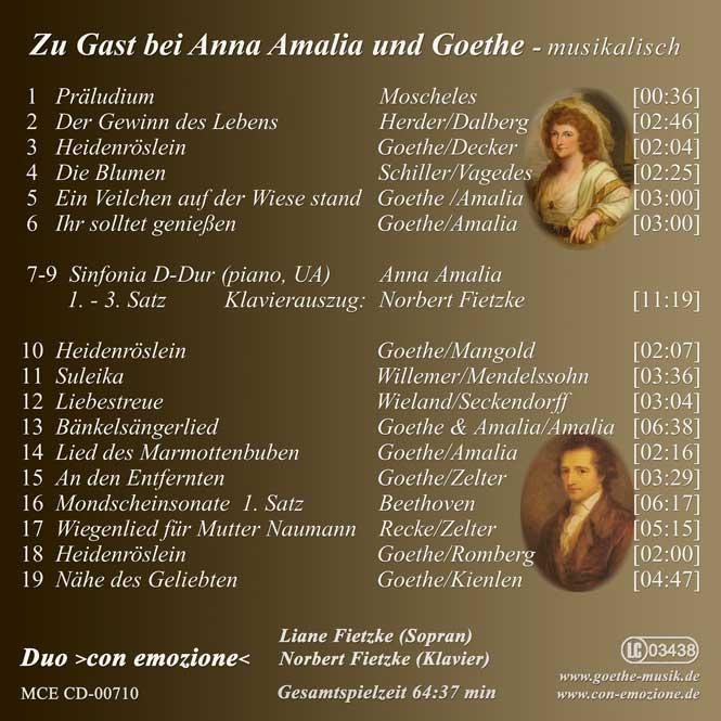 Zu Gast bei Anna Amalia und Goethe - Duo ›con emozione‹ - Inlay