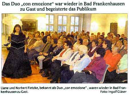 Konzert mit schönen Liedern der Romantik - Bad Frankenhausen