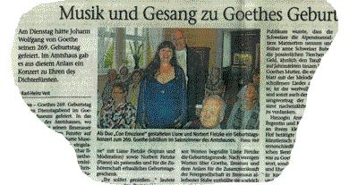 Goethe-Geburtstag mit Seltenheitswert